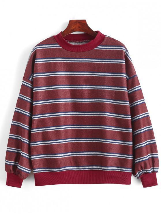 best Drop Shoulder Stripes Fleece Sweatshirt - MULTI-A ONE SIZE