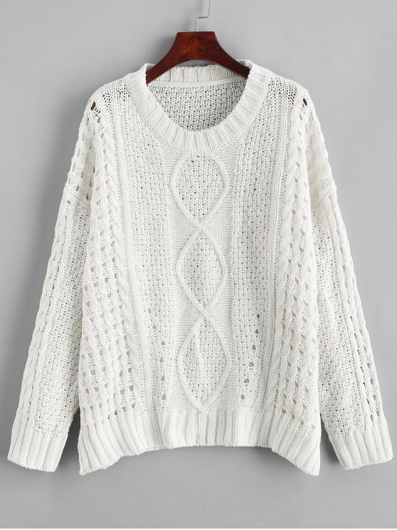 fancy Side Slits Solid Open Knit Sweater - WHITE S