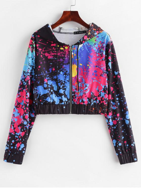 fancy Splatter Paint Cropped Zip Up Hoodie - MULTI L