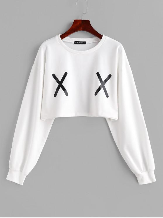shop X Print Graphic Crop Sweatshirt - WHITE XL