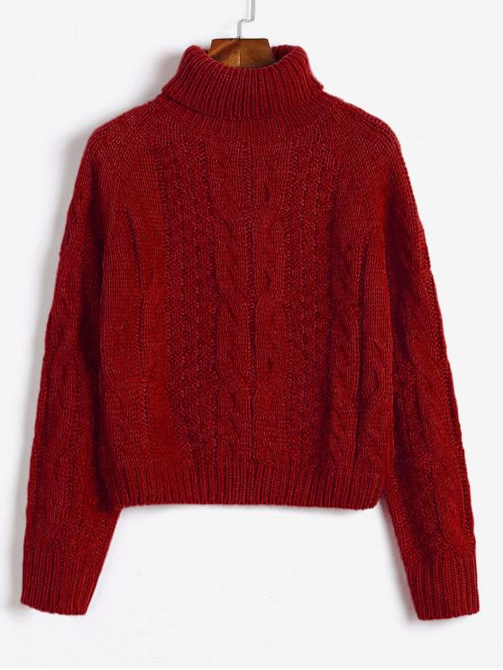 trendy ZAFUL Turtleneck Cropped Cable Knit Sweater - RED WINE L