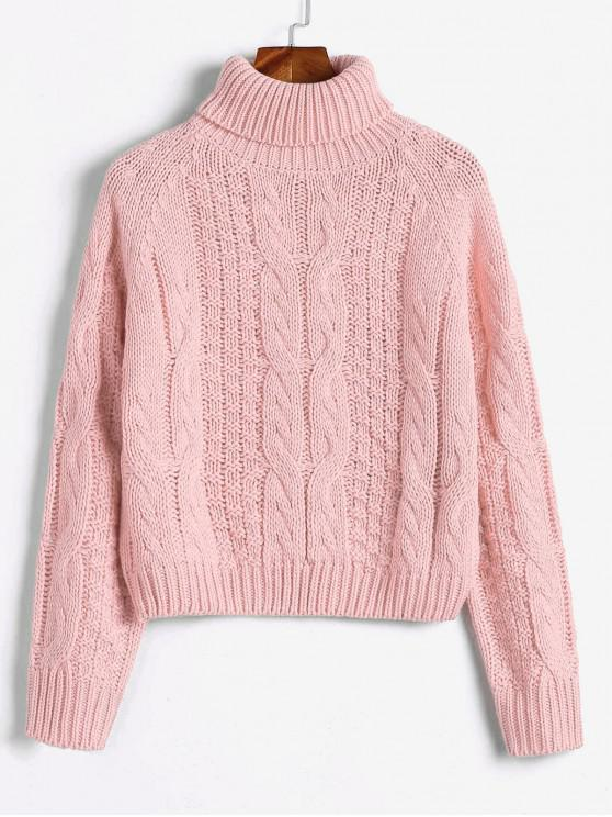 lady ZAFUL Turtleneck Cropped Cable Knit Sweater - PINK M