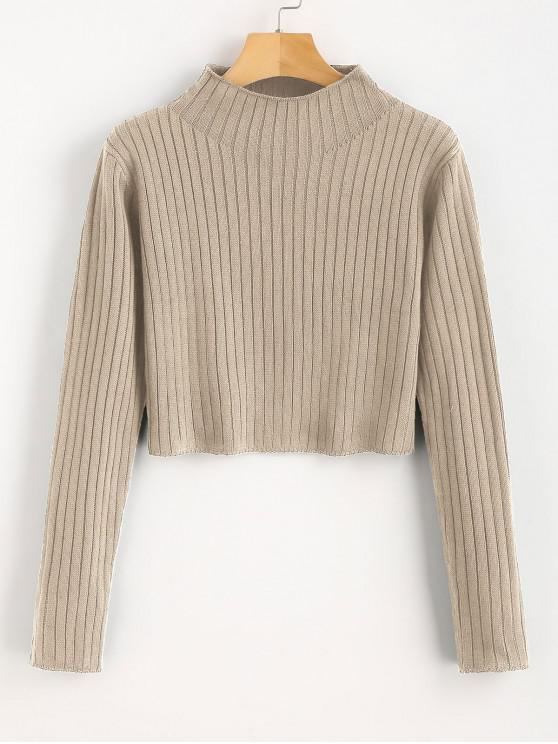 womens Mock Neck Ribbed Sweater - TAN L