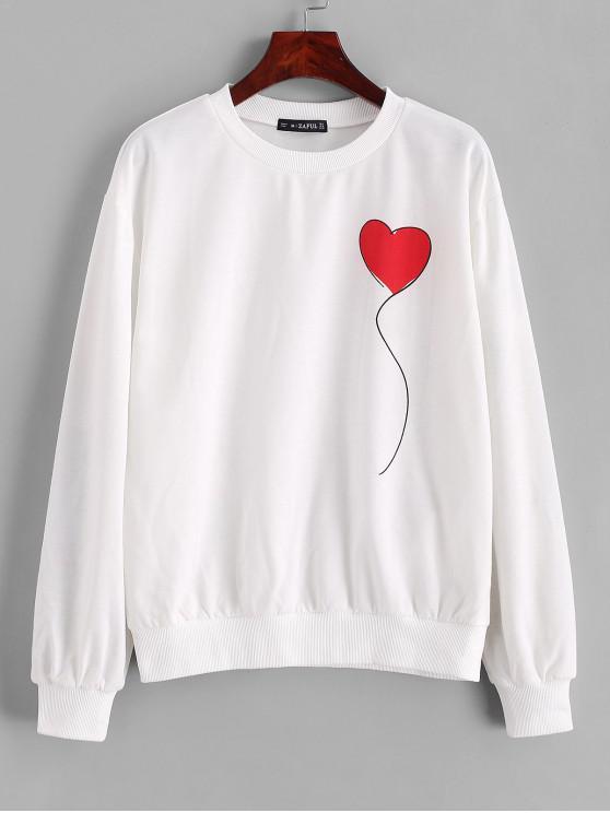ZAFUL Sweat-shirt Cœur Graphique à Col Rond - Blanc S
