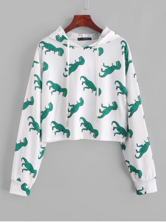 women's ZAFUL Dinosaur Print Cropped Hoodie - WHITE L