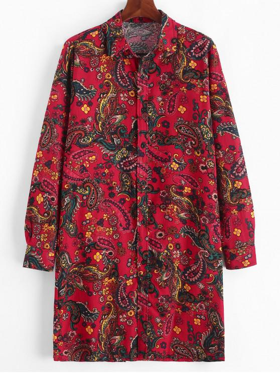 trendy Floral Paisley Print Button Up Long Tunic Shirt - LAVA RED L