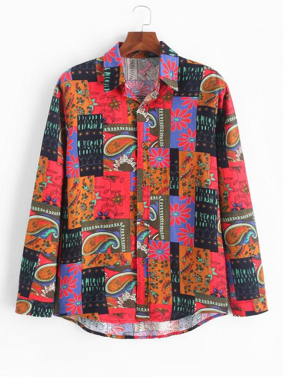 hot Long Sleeve Button Up African Print Shirt - CHESTNUT RED L