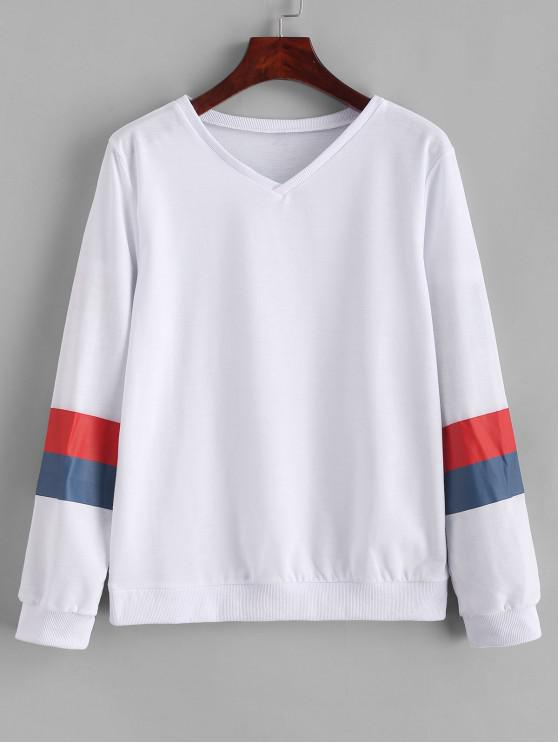 womens V Neck Pullover Color Block Stripes Sweatshirt - WHITE L