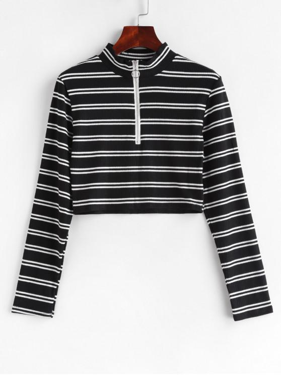 fashion Pull Ring Zip Striped Ribbed Long Sleeve Tee - MULTI-A S