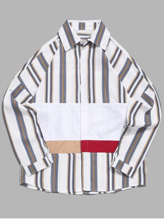 Rayas verticales color bloque de empalme gota hombro del botón camisa - Caqui L