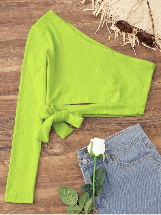 С бантом Одно плечо Короткий Топ - Чай-зеленый L