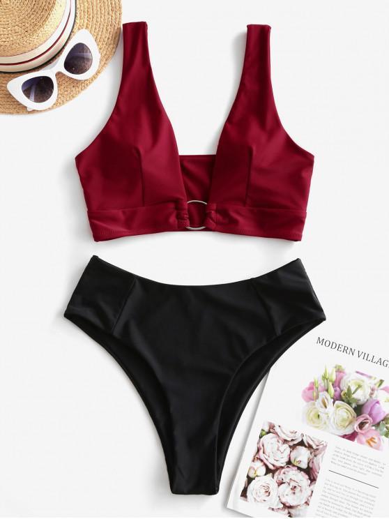 fashion ZAFUL O-ring High Cut Tankini Swimsuit - FIREBRICK S
