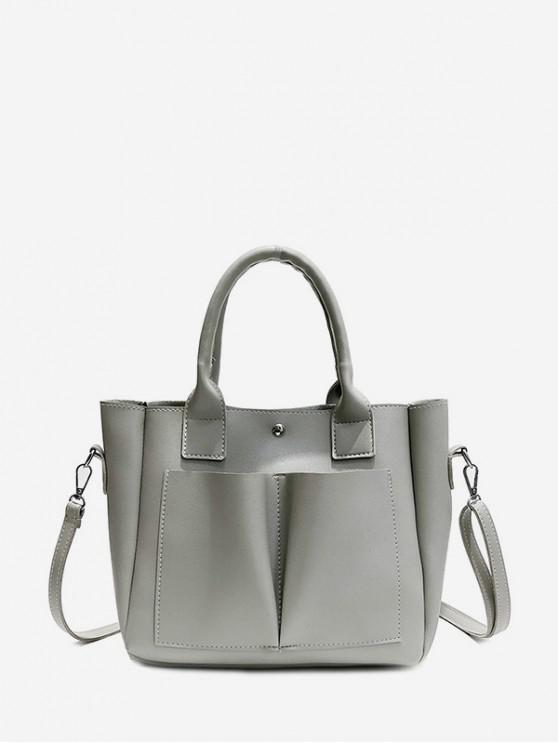 復古口袋設計手提包 - 灰色雲彩