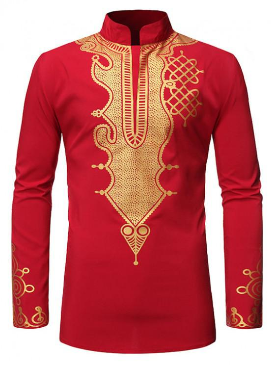 fancy Stand Collar Gilding Pattern African Style Shirt - RED 2XL
