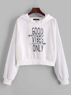 ZAFUL Good Vibes Only Graphic French Terry Hoodie - White L