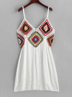 Colorful Crochet Panel Beach Dress - White