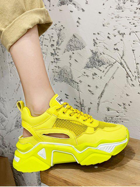 new Lace-up Mesh Trim Platform Sport Shoes - YELLOW EU 39 Mobile