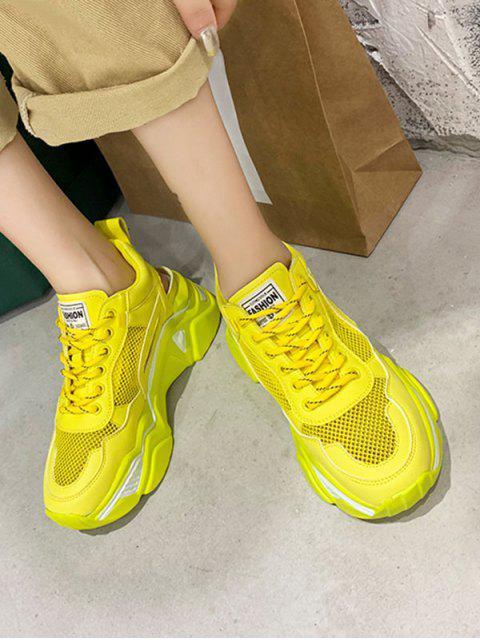 Chaussures de Sport Plateforme à Ourlet en Maille à Lacets - Jaune EU 37 Mobile