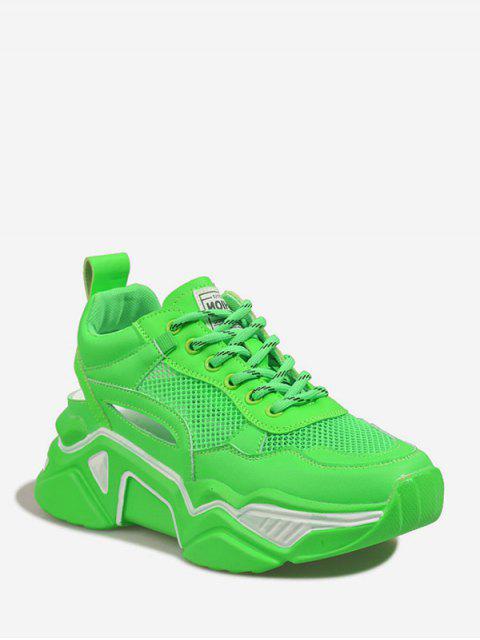 buy Lace-up Mesh Trim Platform Sport Shoes - GREEN EU 39 Mobile