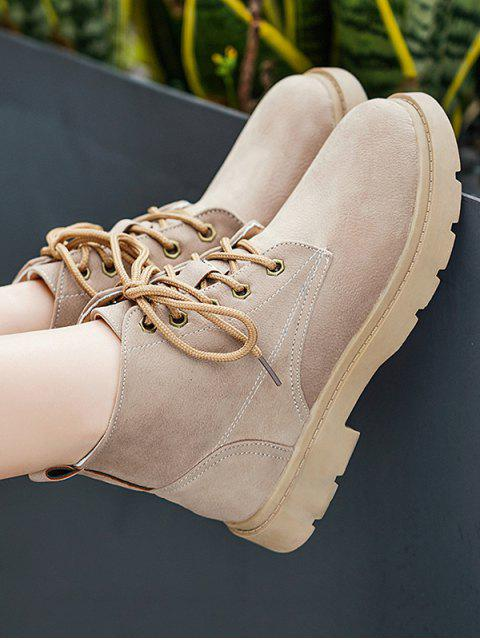 lady Lace-up Stitching Decoration Casual Boots - TAN EU 38 Mobile