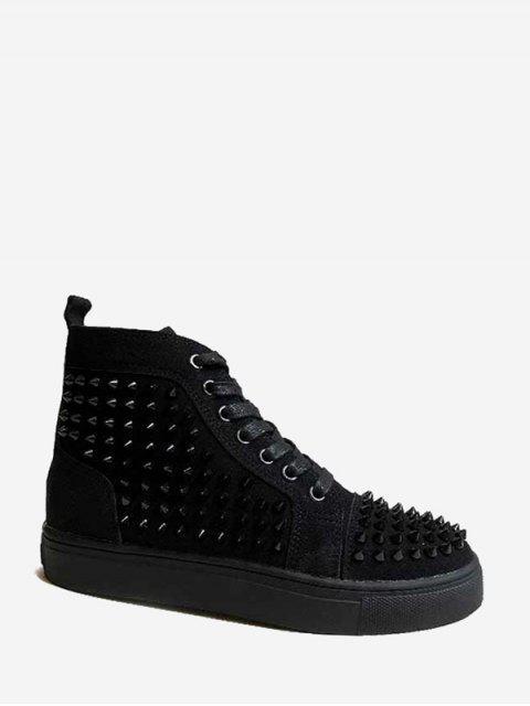 outfit Rivet Decoration Lace-up Design Boots - BLACK EU 40 Mobile