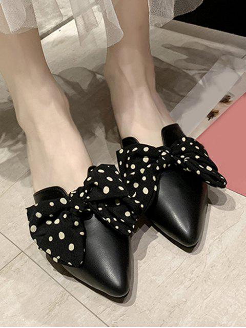womens Pointed Toe Polka Dot Bow Slingback Flat Shoes - BLACK EU 40 Mobile