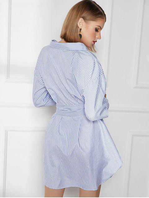Robe Chemise Rayée Ceinturée à Goutte Epaule - Bleu XL Mobile