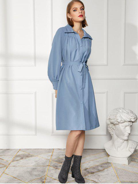 chic Button Up Long Sleeve Belted Shirt Dress - MIST BLUE S Mobile