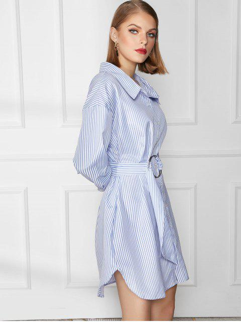 Robe Chemise Rayée Ceinturée à Goutte Epaule - Bleu M Mobile