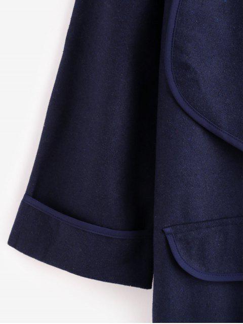 Künstliche Taschen Einfarbiger Drapierter Mantel - Blau M Mobile