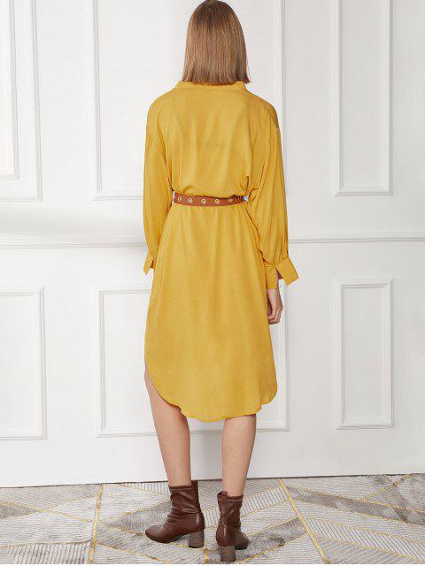 Robe Décontractée Droite à Ourlet Courbe à Manches Longues - Jaune XL Mobile