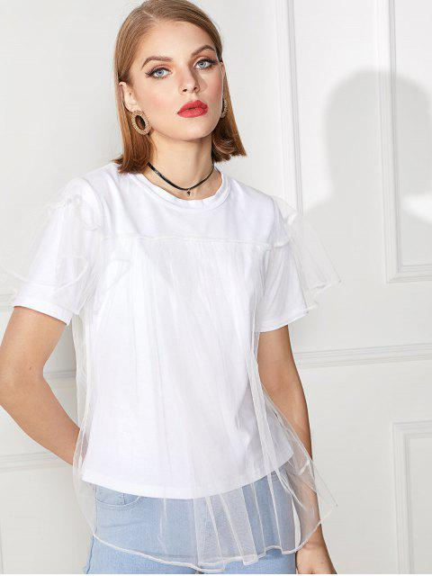 ladies Solid Double Layer Mesh Short Sleeve Tee - WHITE M Mobile