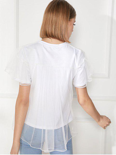 best Solid Double Layer Mesh Short Sleeve Tee - WHITE XL Mobile