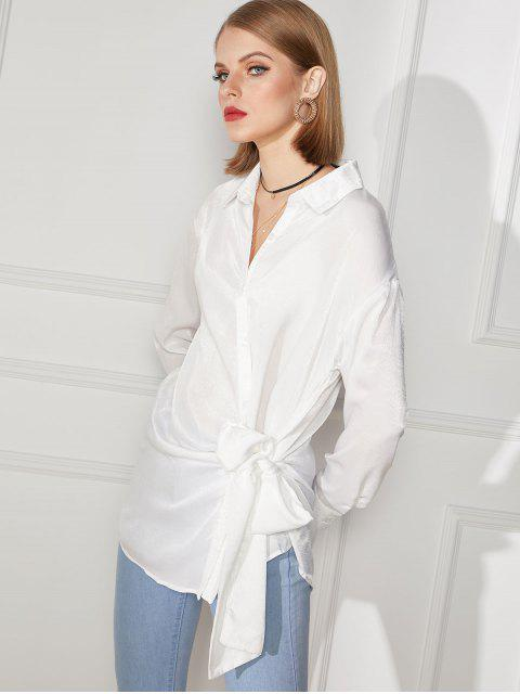 women's Tie Front Button Up Longline Shirt - WHITE XL Mobile