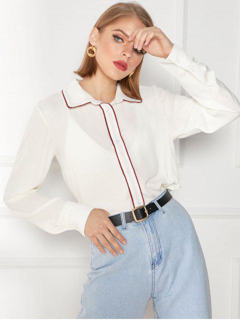Camisa de gasa con ribetes en contraste - Beige XL Mobile