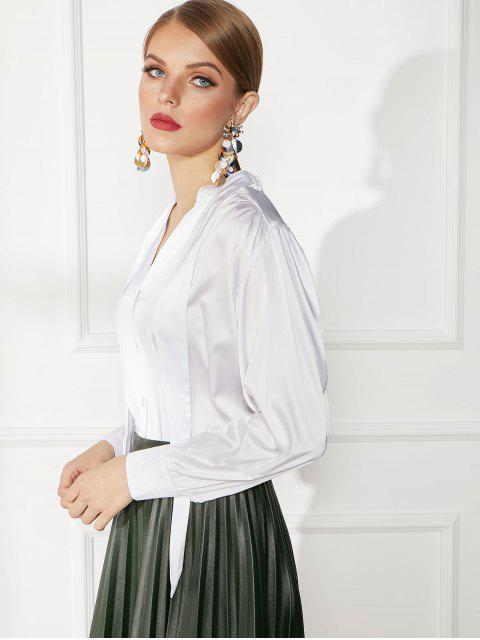 chic Button Front Satin V Neck Work Blouse - WHITE XL Mobile