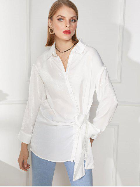 fancy Tie Front Button Up Longline Shirt - WHITE 2XL Mobile