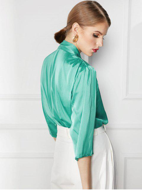 shop V Neck Satin Tied Ruched Blouse - GREEN L Mobile