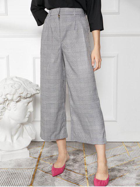Pantalones de pierna ancha a cuadros Glen - Gris Claro L Mobile