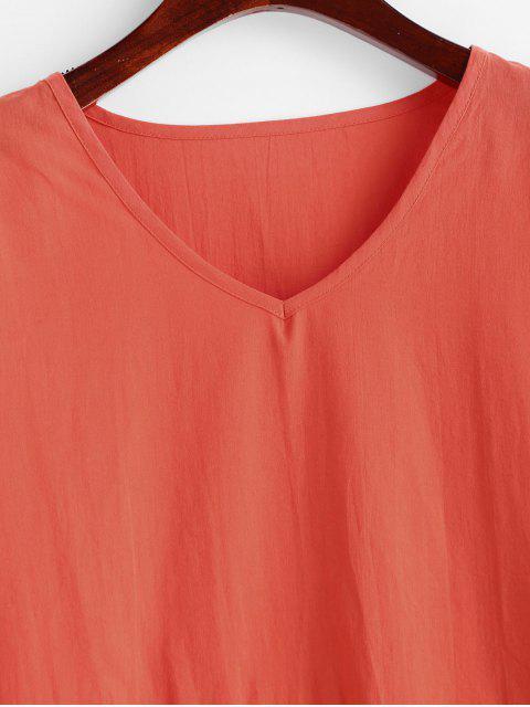 Robe Décontractée Manches Longues à Col V - Orange S Mobile