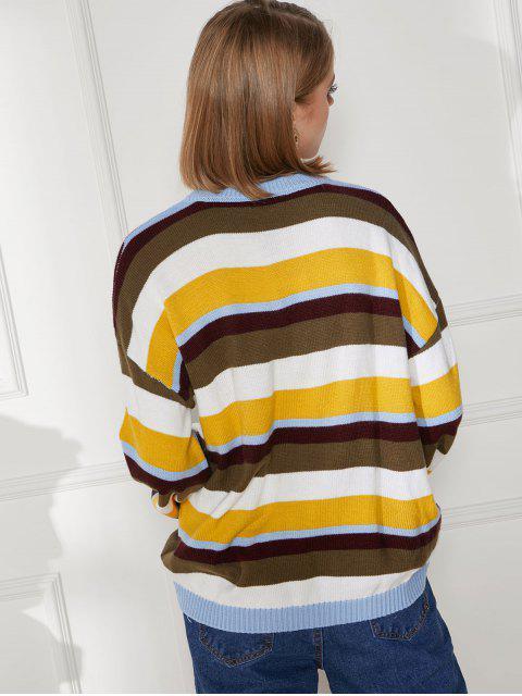 lady Color Block Drop Shoulder Jumper Sweater - MULTI-A XL Mobile