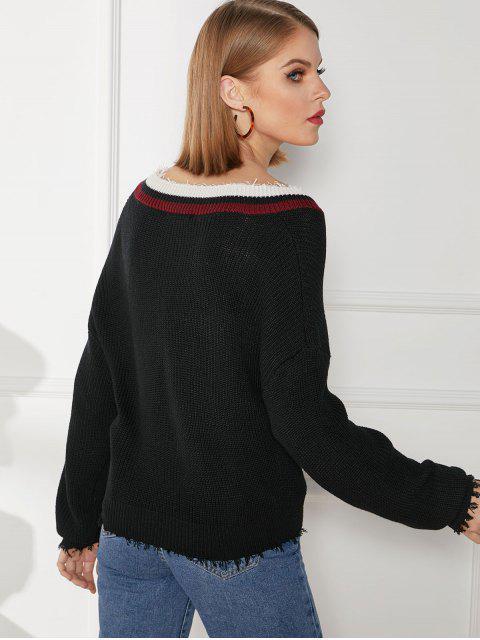 online Twisted Striped Panel Raw Hem Drop Shoulder Sweater - BLACK L Mobile