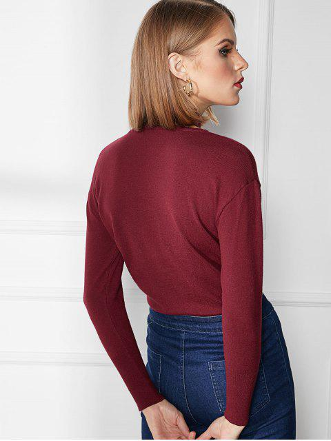 shops Cutout High Neck Sweater - RED WINE M Mobile