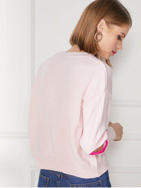 unique Elbow Cut Drop Shoulder Jumper Sweater - PIG PINK M Mobile
