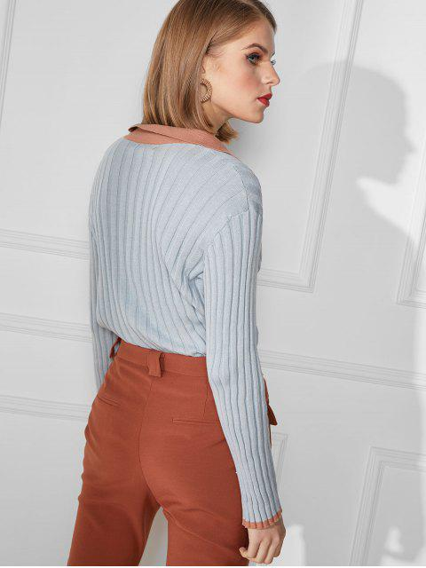 online Turndown Collar Ribbed Slim Knit Sweater - BLUE L Mobile