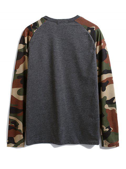 Camisa de camuflaje de color bloque de bolsillo en el pecho de la camiseta - Gris Oscuro M Mobile