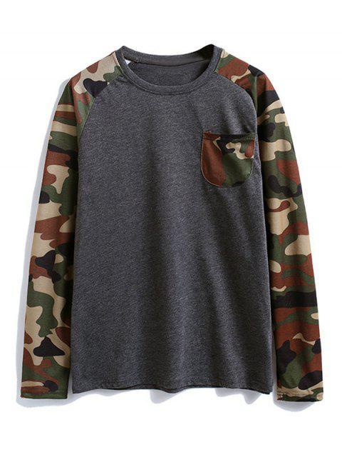 Camisa de camuflaje de color bloque de bolsillo en el pecho de la camiseta - Gris Oscuro XL Mobile