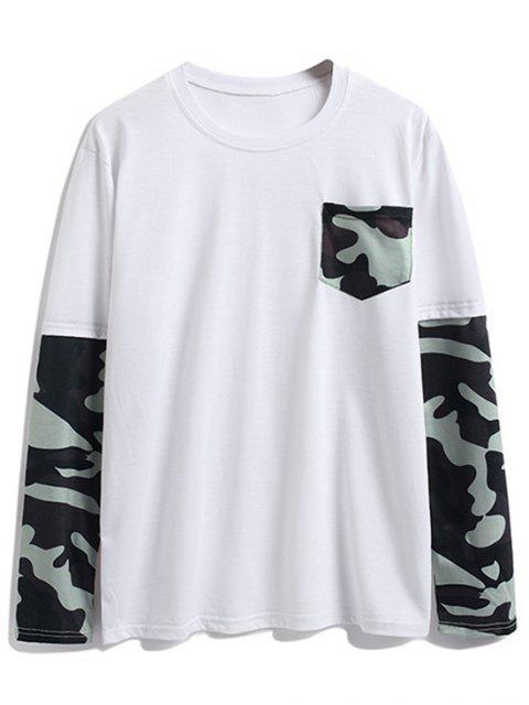 Camisa de manga larga con bolsillo en el pecho de camuflaje - Blanco XL Mobile