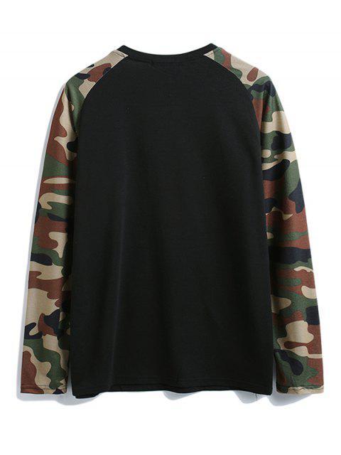 Camisa de camuflaje de color bloque de bolsillo en el pecho de la camiseta - Negro 2XL Mobile
