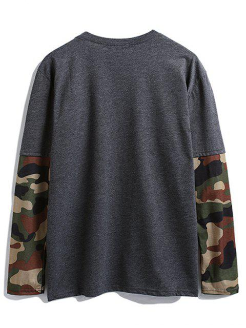Camisa de manga larga con bolsillo en el pecho de camuflaje - Gris Oscuro L Mobile